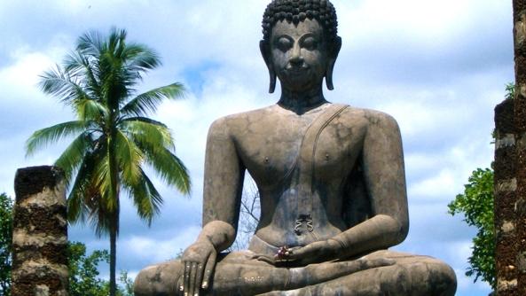 Buda budismo meditacion espiritualidad yoga consciencia autoconsciencia introspeccion reflexion estatua piedra idolo palmeras pensar pilates